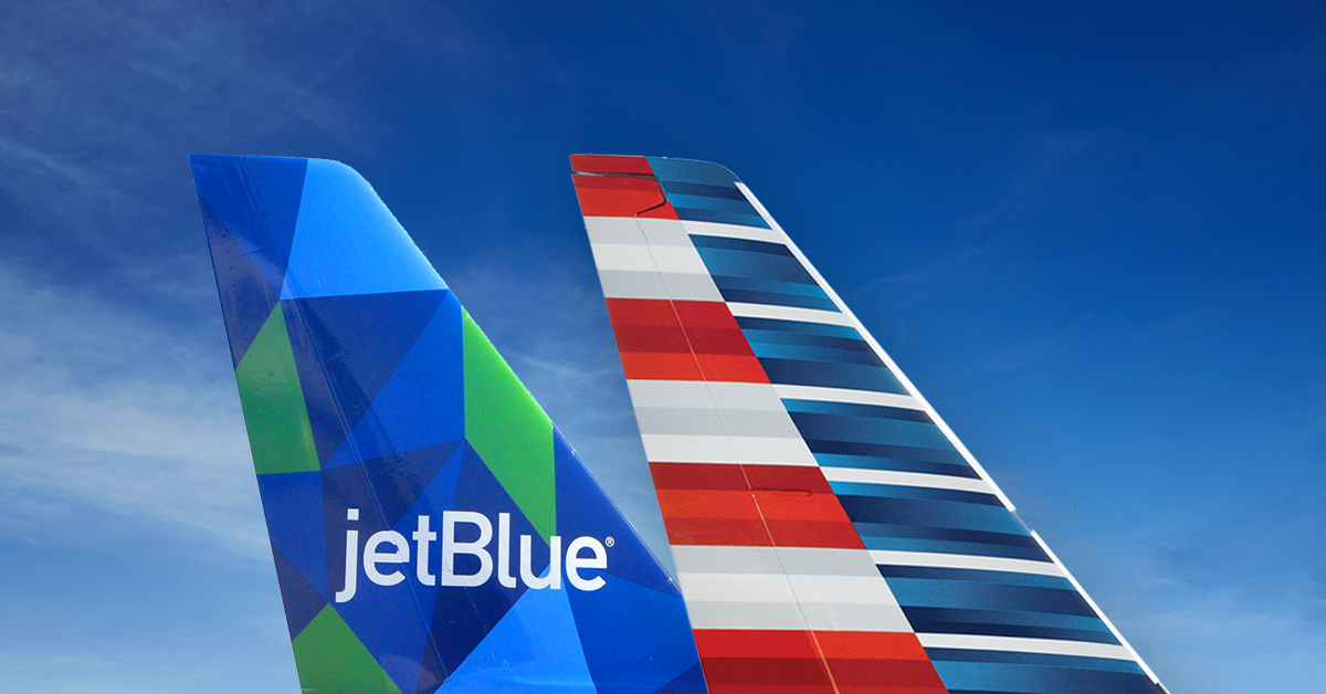 AA and JetBlue tails
