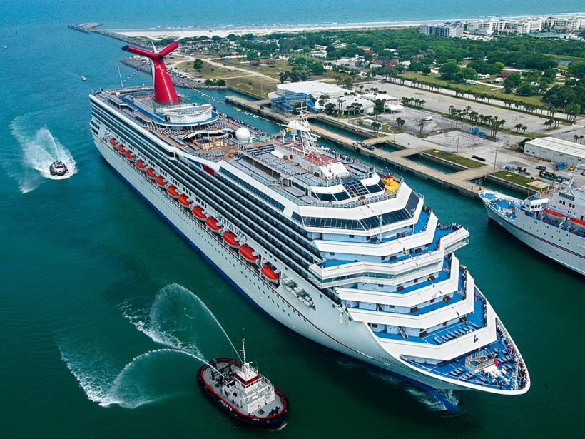 Carnival ship from the air