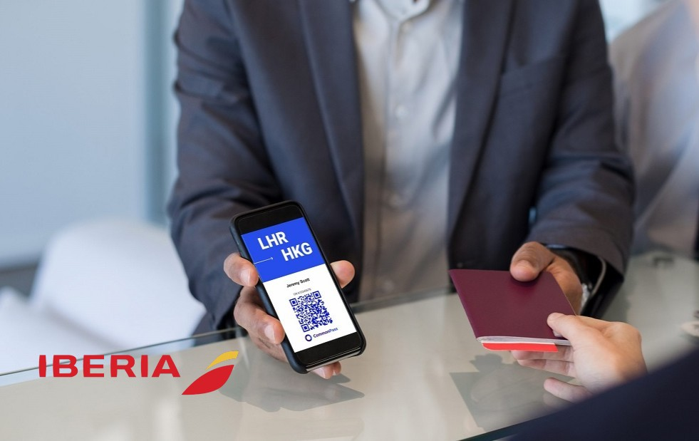 Iberia logo and IATA Travel Pass