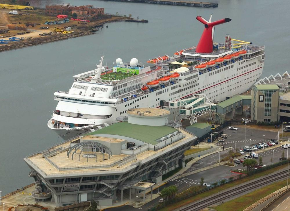 Port of Mobile viewed from above, Carnival cruise ship