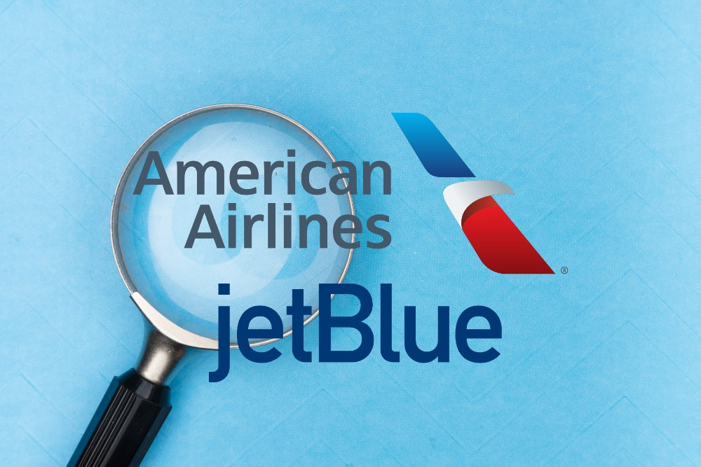 AA JetBlue logos under scrutiny