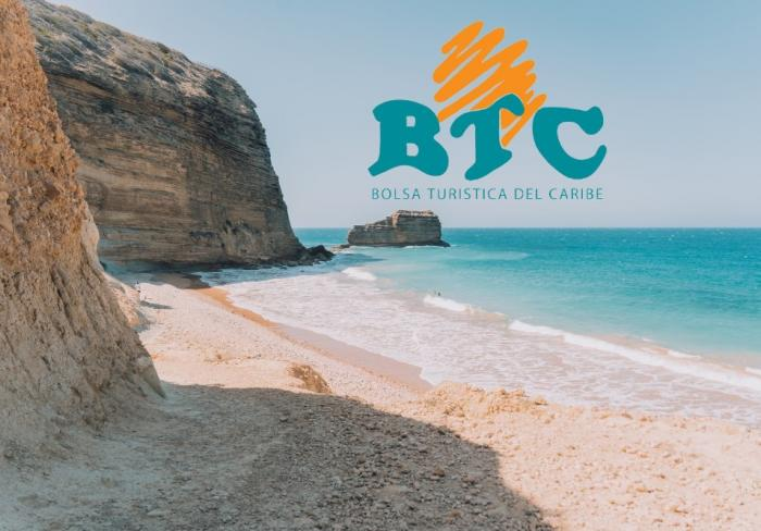 Dominican beach and the BTC logo on top