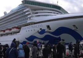 Diamond Princess docked in Japan, reporters
