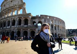 Rome Colliseum, woman covered