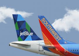 JetBlue and Southwest plane tails