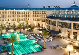 Kempinski hotel pool at night