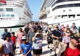 passengers disembark from the Aurora cruise