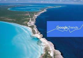 Bahamas from the air and Google Trends logo