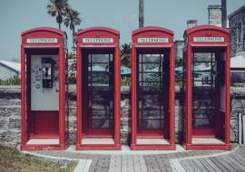 four phone booths in Bermuda
