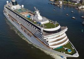 Crystal Cruise ship from the air