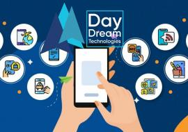 illustration of travel apps and Day Dream Technologies logo on top