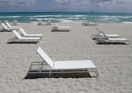 empty lounge chair on a beach