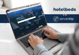 Hotelbeds platform on laptop