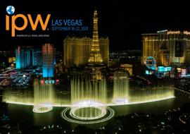 Las Vegas at night and IPW 2021 logo on top left