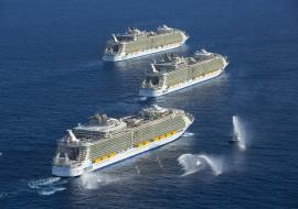 Royal Caribbean cruise ships from the air