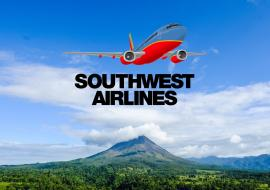Costa Rica volcano and Southwest Airlines logo on top