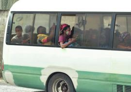 bus with St. Vincent residents being evacuated