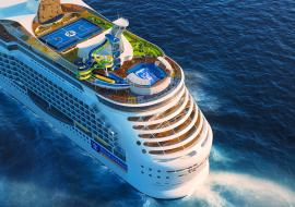 Royal Caribbean cruise ship viewed from the air