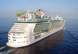 Royal Caribbean ship viewed from stern