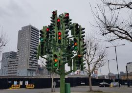 traffic light tree in London, art
