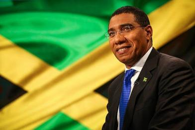 Andrew Holness and the Jamaican flag